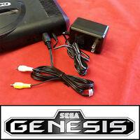 Brand Power Ac Adapter + Av Cable For Sega Genesis System Model Mk-1601