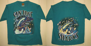 reputable site 4d69d 6bc42 Details about SAN JOSE SHARKS Shirt XL 1994 NHL Nutmeg Mills Hockey Jump  Thru SJ OOP RARE HTF