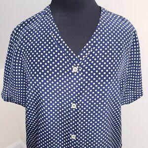 Vintage-Womens-Navy-Silk-Short-Sleeve-Top-Blouse-Size-12-or-L-Polka-Dot-V-Neck