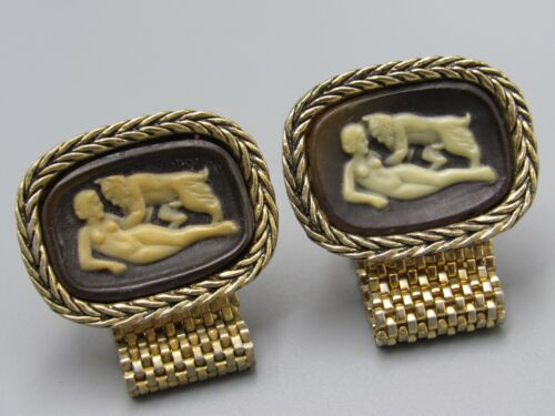 Mythological Ceramic Medallion Cuff Links