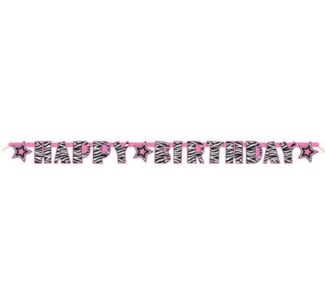 Unique Party 43392 5ft Zebra Print Happy Birthday Banner