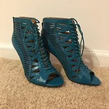 Brand New Nine West Lace Up Heels, Turquoise Teal, Size 8, Retail $119!