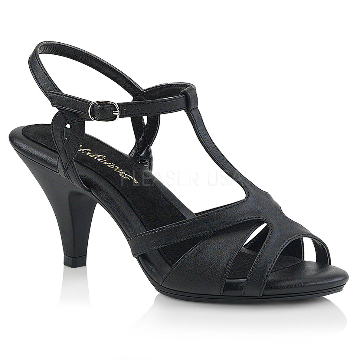 PLEASER Sexy Low 3  Heels T-Strap Black Matte Sandals shoes w  Ankle Strap