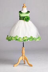 Ivory-Flower-Girl-Bridesmaids-Summer-Easter-Top-Solid-Clover-Green-Dress-22