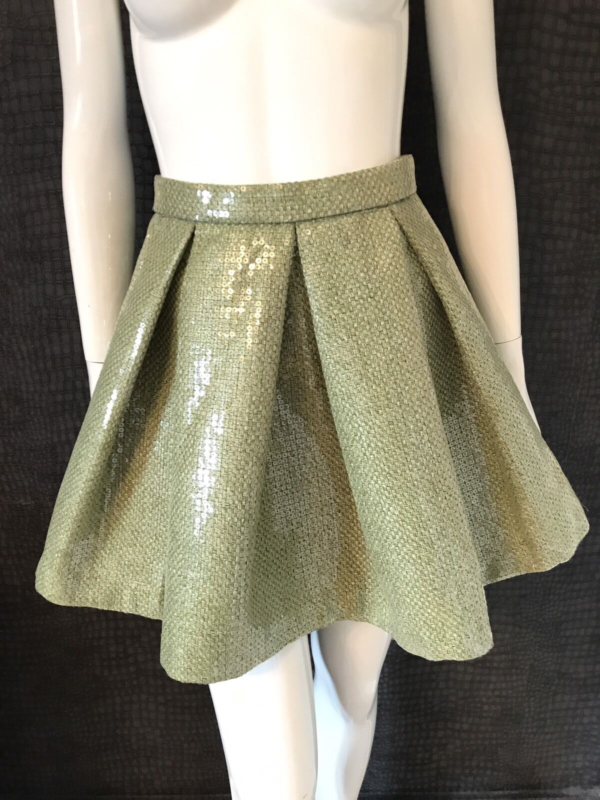Aqua By Aqua Green Sequin Reeree Skirt New Without Tags