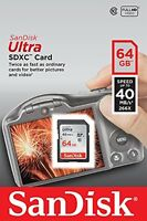 SanDisk 64GB Ultra SDXC SDHC SD Flash Memory Card Class 10 40MB/s 266x Full HD