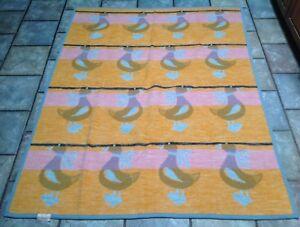 VTG-Biederlack-Blanket-Throw-Ducks-Pink-Orange-Blue-54x-69-USA