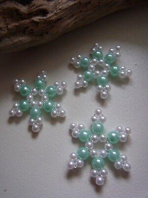 3 Perlensterne Schneeflocke 6 hellgrün Handarbeit Fensterdeko Deko Baumbehang