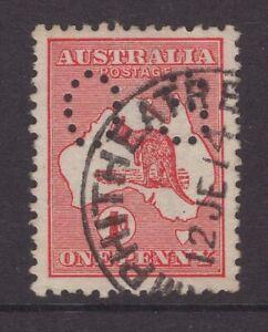 Victoria-AMPHITHEATRE-1914-postmark-on-1d-Kangaroo-OS-perfin