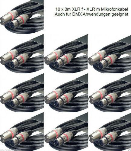 10 x 3m Mikrofonkabel XLR male auf XLR female Metal-Stecker auch für DMX