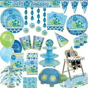 1 geburtstag junge blau kindergeburtstag tier party dekoration set baby feier ebay. Black Bedroom Furniture Sets. Home Design Ideas