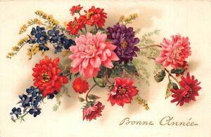 CPA-Fantaisie-Bonne-Annee-Bouquet-de-fleurs
