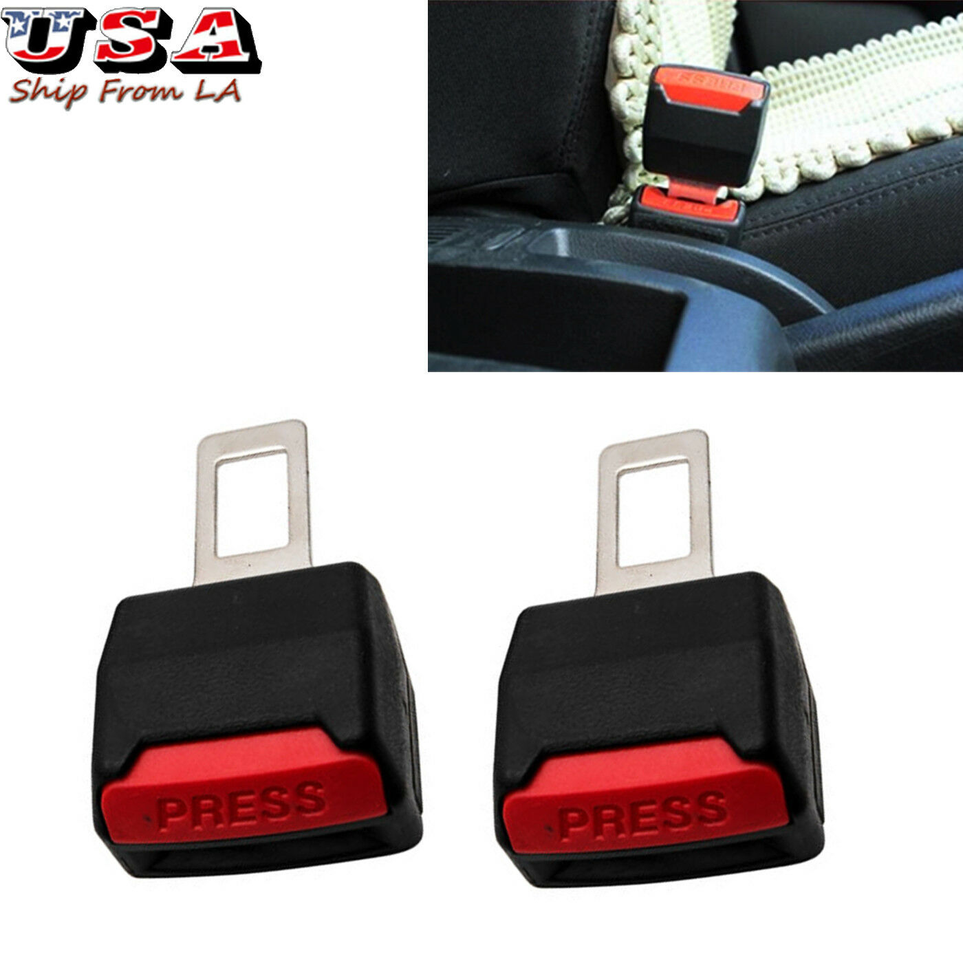 2X Universal Safety Seat Belt Buckle Clip Extender Car Safety Alarm Stopper New