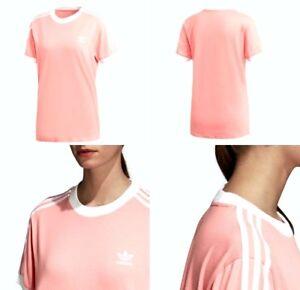 5190af6435 Adidas 3 Stripes Tee Cotton Trefoil Tactile Rose Size Medium Womens ...