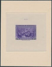 VENEZUELA #C313P 15¢ VIOLET DIE PROOF ON INDIA ON CARD WITH CONTROL NO. BS3675