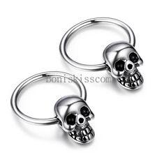Punk Rock Silver Stainless Steel Men's Skull Head Hoop Earrings Halloween Gift