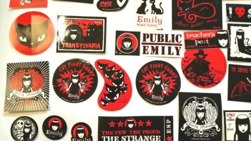 Red Stickers White 70 all Different RARE Emily the Strange Stickers Black