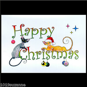 NEW-LARGE-HAND-MADE-DEVON-REX-CAT-PAINTING-CHRISTMAS-CARD-BY-SUZANNE-LE-GOOD