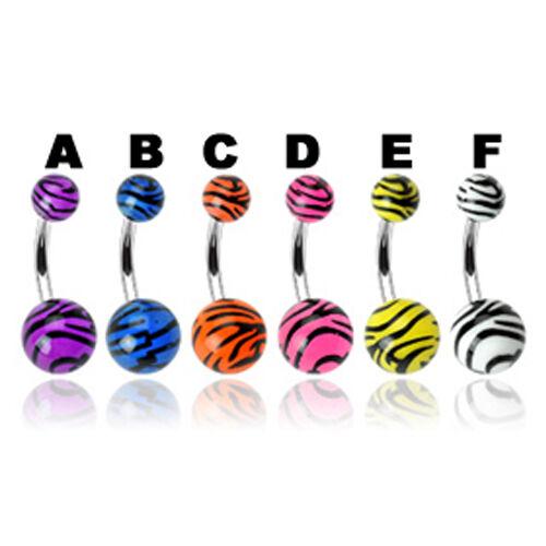 Ombligo piercing joyas UV balas con rayas de cebra muchos colores