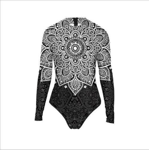 Women long sleeve Zipper Mandala Floral Printed high neck One Piece Swimsuit
