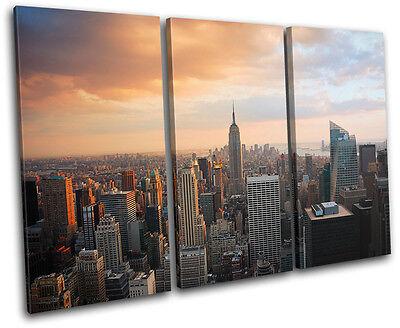New York Skyline USA City TREBLE CANVAS WALL ART Picture Print VA