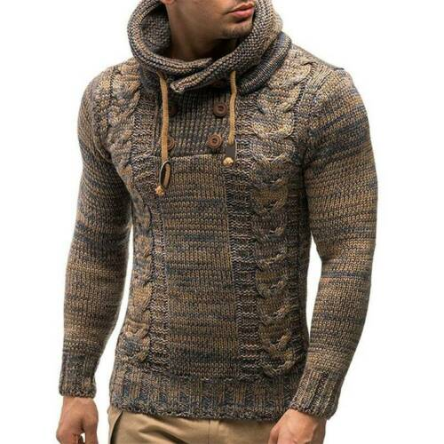 Mens Hooded Chunky Knitted Hoodie Sweater Pullover Winter Thick Warm Jumper Tops