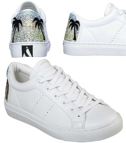 Skechers Womens Side Street-Sunset paseos Zapato De Cuero Con Motivo. 73545/blanco