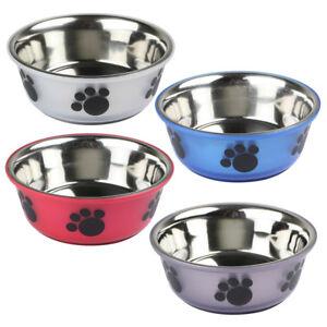 Medium-Large-Non-Slip-Stainless-Steel-Dog-Bowl-Metal-Pet-Puppy-Animal-Food-Water