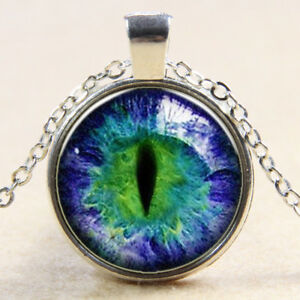 Vintage-purple-lizard-eye-Cabochon-Tibetan-Silver-Glass-Chain-Pendant-Necklace-E