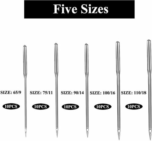 50PCS Home Sewing Machine Needle 11//75,12//80,14//90,16//100,18//110 for Singer lot