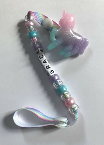Personalized SHIMMER UNICORN  Dummy Soother Clip With Baby/'s Name Added ~ NEW