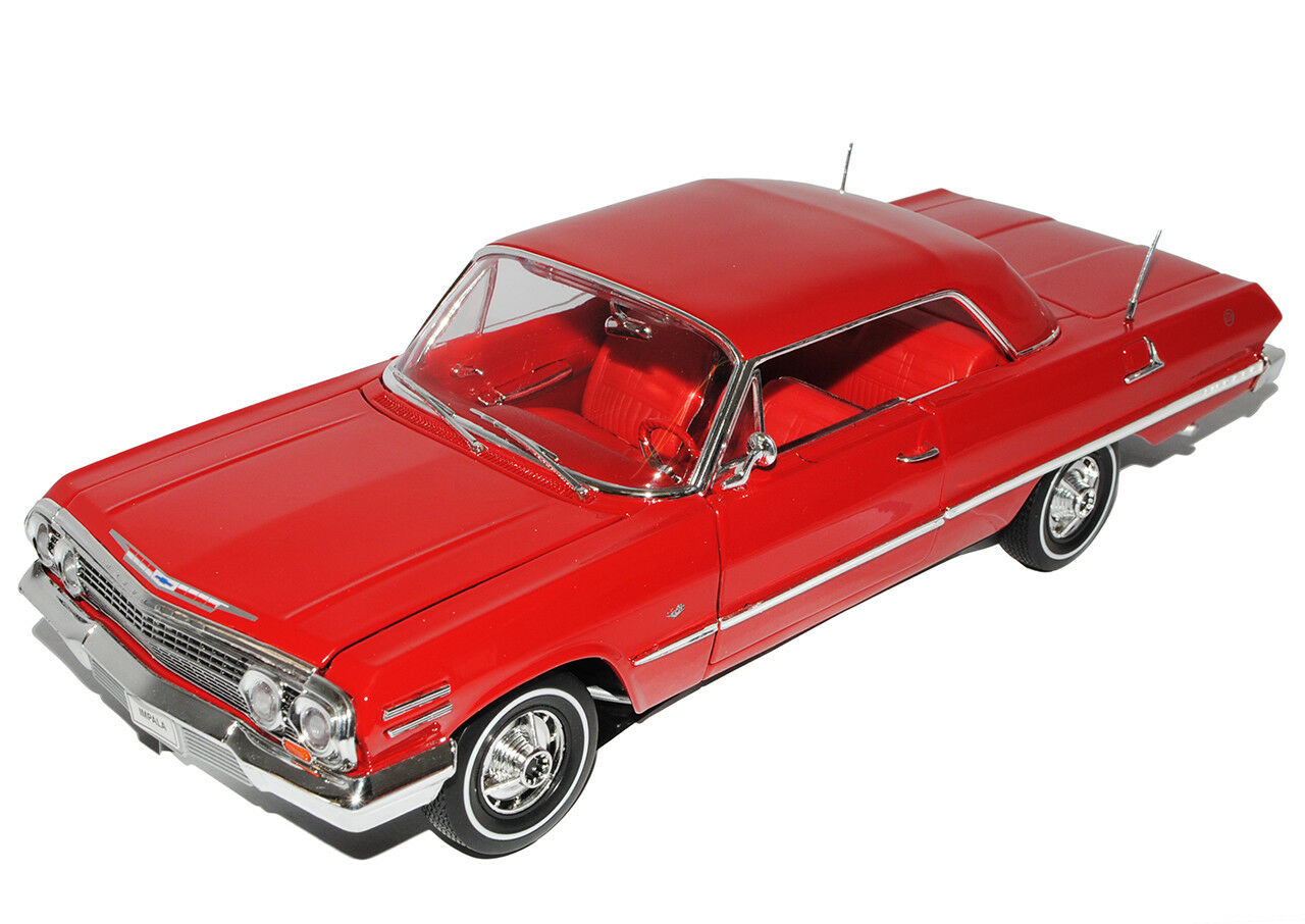 Chevrolet Impala Coupe red 1963 1 18 Welly Modell Modell Modell Auto mit oder ohne individiu.. 8a565a