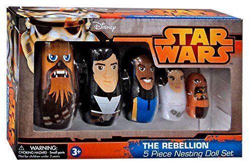 Star Wars 5 Pc THE REBELLION Babushka Nesting Dolls - Chewbacca Han Leia Wicket