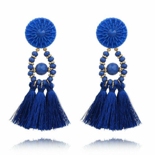 Women Fashion Bohemian Earrings Long Tassel Fringe Boho Dangle Earrings Jewelry