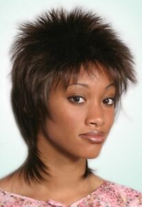 80 S Spike Spiky Short Mid Length Straight Hair Layered Back Wig