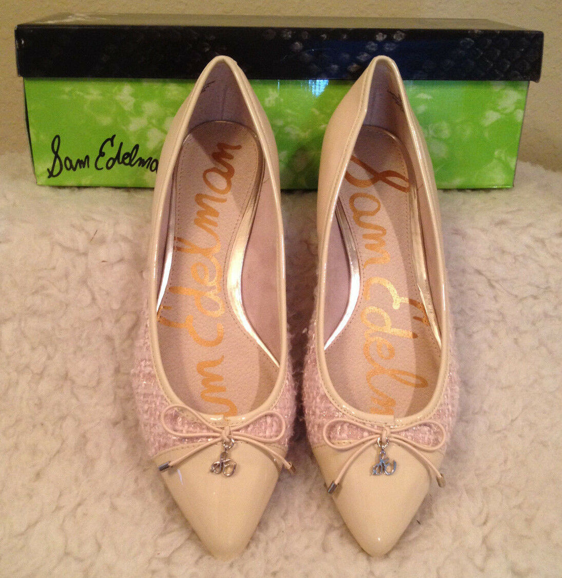 NIB 120 Sam Edelman Lilly Nude LEATHER/TWEED/PATENT Flats Schuhes Damenschuhe 6 M