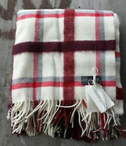 NWT Fiori di Firenze Italy Wool//mohair//alpaca throw Cream// black//Gray//Red