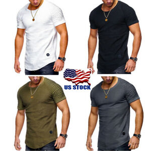 Mens-Muscle-Short-Sleeve-Round-Neck-Summer-Casual-Slim-Fit-T-Shirt-Tops-M-2XL-US