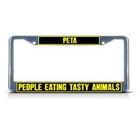Peta People Eating Tasty Animals Metal License Plate Frame Tag Border Two Holes