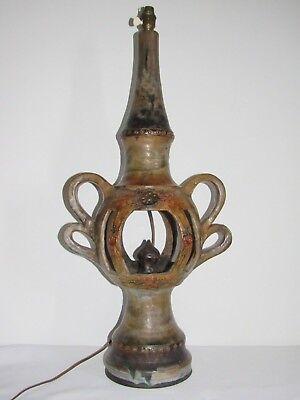 05e24 Antik Lampe Vintage 1950 Terrakotta Glasiert Ähre Ridge Signiert Schnelle Farbe
