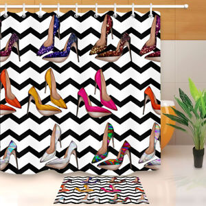 Image Is Loading Shower Curtain Set Wave Various Bright Colors Shoes