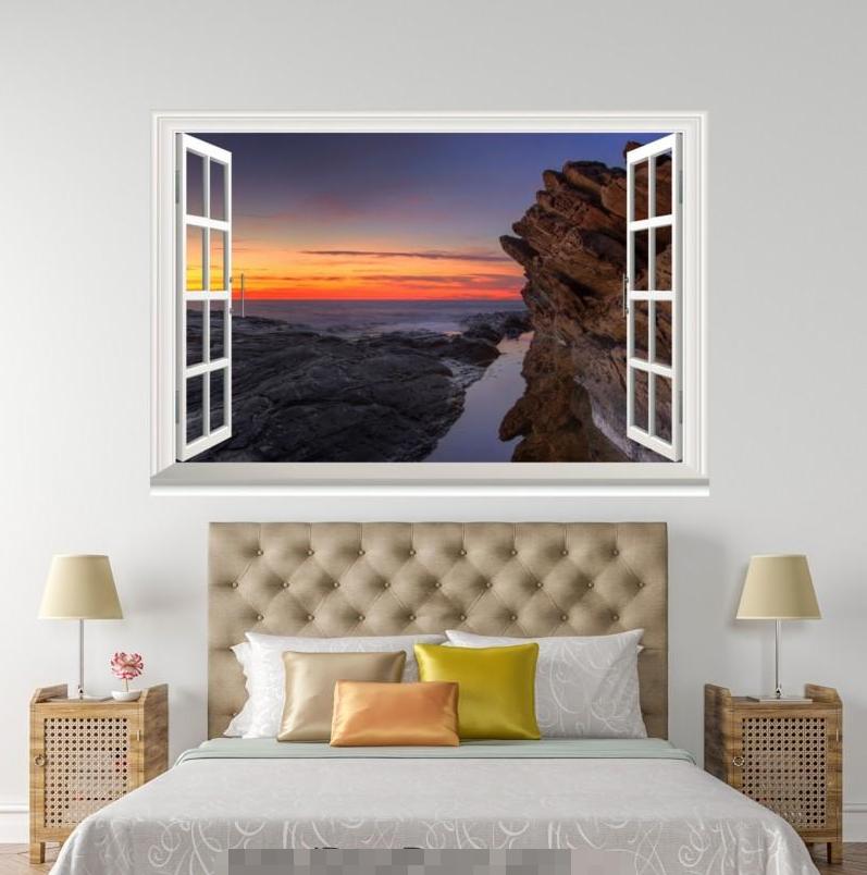 3D Orange Dusk Hill 116 Open Windows WallPaper Wandbilder Wall Print AJ Jenny