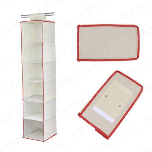 Shoe Rack WARDROBE TIDY 6 Shelf White W// Red Trim Hanging Clothes Organiser