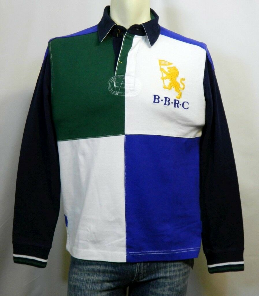 5cd3ef02408 BredHERS, L S MEN'S RUGBY SHIRT, WHITE WITH blueE & GREEN, NWT ...