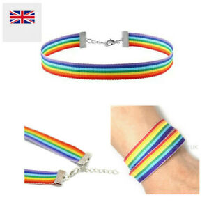 Rainbow-Choker-LGBT-Gay-Pride-Hippy-Boho-Unisex-Chain-Necklace-Bracelet-US