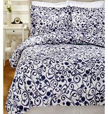 Sferra King Duvet Cover 2 Shams Ironwork Swirls White/Purple 300TC Cotton Sateen