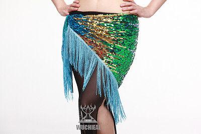 New Belly Dance Costume Hip Scarf Belt Gradient Sequin Fringe Tassels 5 colors