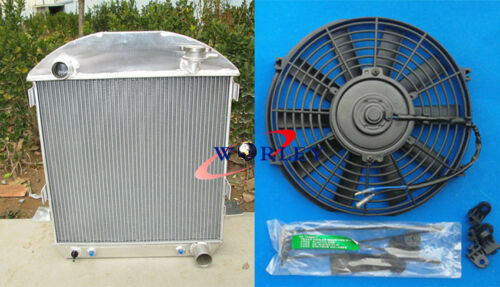 FAN FOR 1924-1927 Ford Model T T Bucket Chevy Engine 3ROW Aluminum Radiator