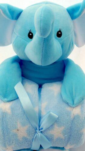 PLUSH SOFT TOY BLUE  ELEPHANT WITH DETACHABLE SUPER SOFT BLUE BABY BLANKET B13