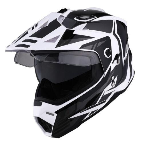 Dual Sport Dual Visor Motorcycle Motocross Full Face Helmet Black Blue Red Green
